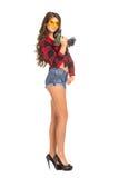 Молодая сексуальная женщина держа сверло конструкции Стоковые Фото