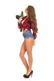 Молодая сексуальная женщина держа сверло конструкции Стоковые Изображения