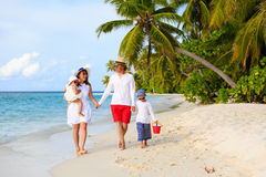 Молодая семья при 2 дет идя на тропическое Стоковое фото RF