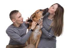 Молодая семья, ревность и чабан Стоковая Фотография