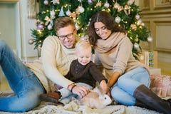 Молодая семья сидя под рождественской елкой Стоковые Фотографии RF