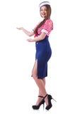 Молодая стюардесса держа руки Стоковые Фото