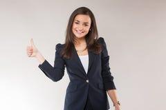 Молодая счастливая бизнес-леди одобряет Стоковые Изображения RF