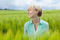 Молодая счастливая женщина стоковое изображение rf
