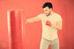 Молодая тренировка боксера на фильтре груши теплом прикладном Стоковое фото RF