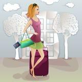 Молодая туристская дама теряя ее документы иллюстрация штока