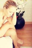 Молодая унылая женщина Стоковые Фото