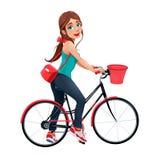 Молодая усмехаясь женщина на велосипеде бесплатная иллюстрация