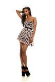 Молодая чернокожая женщина нося платье стоковые изображения rf