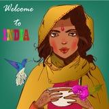 Молодая beautyful индийская женщина Стоковые Изображения