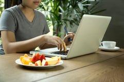 Молодое азиатское исследование женщины работая на компьтер-книжке с свежими фруктами Стоковые Изображения