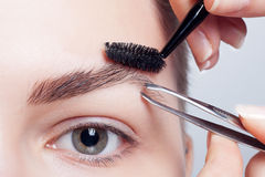 Молодое брюнет с составом женщины коротких волос косметика девушки Стоковые Изображения RF