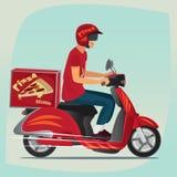 Молодое катание курьера пиццы на самокате Стоковое Фото