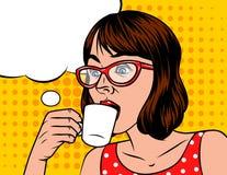 Молодое красивое в ретро женщине стиля с чашкой кофе Иллюстрация вектора