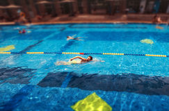 Молодое красивое заплывание человека в бассейне Стоковое Фото