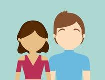 молодое модное безликое гетеросексуальное изображение значка пар иллюстрация вектора