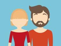 молодое модное безликое гетеросексуальное изображение значка пар иллюстрация штока