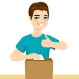 Молодое счастливое голосование человека иллюстрация штока