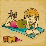 Молодое чтение мальчика бесплатная иллюстрация