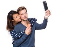 Молодое selfie взятия пар Стоковое фото RF