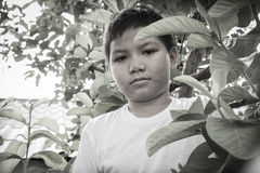 Молодой азиатский мальчик сидя самостоятельно в парке Стоковое Изображение