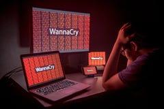 Молодой азиатский мужчина расстроенный нападением ransomware WannaCry Стоковые Фотографии RF