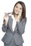 Молодой азиатской бизнес-леди красивый довольно используя лицевую ткань Стоковое Изображение RF