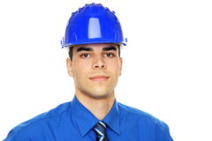 Молодой бизнесмен в шлеме Стоковые Фото