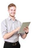 Молодой бизнесмен используя ПК таблетки Стоковое фото RF