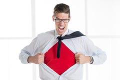Молодой бизнесмен - супергерой Стоковое Фото