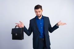 Молодой бизнесмен с кожаным портфелем Стоковое Фото