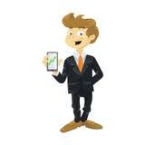 Молодой бизнесмен с мобильным телефоном иллюстрация вектора
