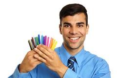 Молодой бизнесмен с отметками Стоковая Фотография
