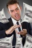 Молодой бизнесмен с долларом на его руке стоковые фотографии rf