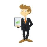 Молодой бизнесмен с таблеткой иллюстрация вектора
