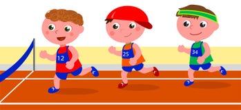 Молодой вектор конкуренции бегунов Стоковое Изображение