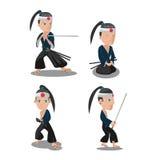 Молодой вектор персонажа из мультфильма самураев Японии Стоковое Изображение