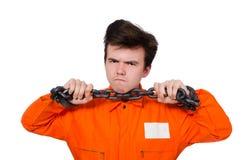 Молодой воспитанник при изолированные цепи стоковые фото