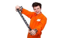 Молодой воспитанник при изолированные цепи стоковое изображение