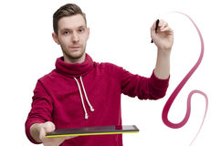 Молодой график-дизайнер изолированный на белизне Стоковые Изображения RF