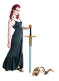 Молодой женский ратник с шпагой Стоковая Фотография RF