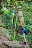 Молодой женский hiker с держателем Manaia рюкзака взбираясь Стоковое фото RF