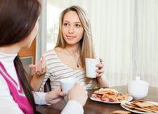 2 молодой женщины злословя и выпивая чай Стоковая Фотография