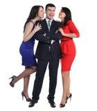 2 молодой женщины и один гомосексуалист Стоковые Изображения