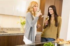 2 молодой женщины провозглашать с белым вином в современной кухне Стоковая Фотография