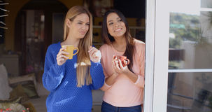 2 молодой женщины смотря через окно Стоковая Фотография