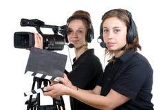 2 молодой женщины с камерой стоковые изображения rf