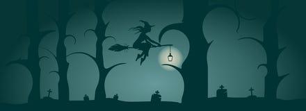 Молодой значок летая ведьмы Силуэт ведьмы на broomstick Стоковое Изображение RF