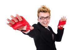 Молодой изолированный боксер бизнесмена Стоковая Фотография