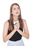 Молодой изолированный молить девушки подростка стоковая фотография rf